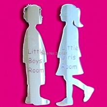 2 pcs Little Boy & Little Girl Engraved Toilet Door Mirrors Acrylic Mural Mirror Wall Sticker DIY Self-adhesion Room Signs Decor(China (Mainland))