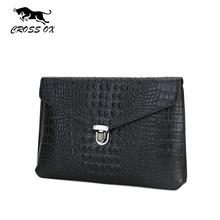 CROSS OX Fashion Genuine Leather Handmade Men Bags Crocodile Pattern Cowhide Men's Envelope Clutch Bag Vintage Hasp Packs SL298M(China (Mainland))