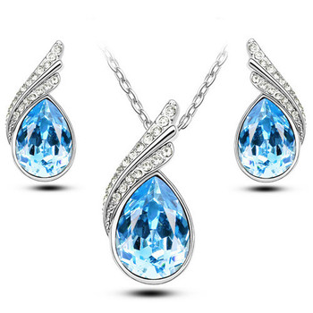2017 Austrian Crystal Jewelry Sets For Women Fashion Jewellery & Jewerly Silver And Gold Plated Bridal Wedding Jewelry Sets