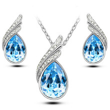 2016 Austrian Crystal Jewelry Sets For Women Fashion Jewellery & Jewerly Silver And 18K Gold Plated Bridal Wedding Jewelry Sets(China (Mainland))