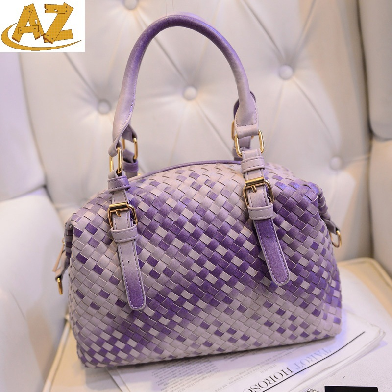 2015 new trends fashion woven tote bag knitting sinle shoulder handbag five color  -  Shenzhen AZ trading Co., Ltd store