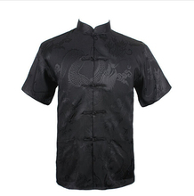 Black Summer New Chinese Men's Silk Satin Kung Fu Shirt Top with Pocket Size S M L XL XXL XXXL Free Shipping LD30(China (Mainland))