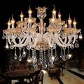 New Luxury Chandelier Lighting Hanging Cord Pendant Lamps Amber Crystal Luminaire For Living Room lustres de