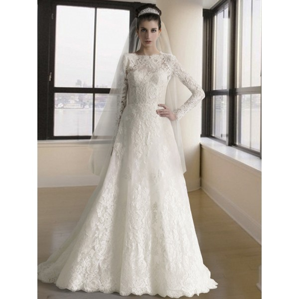 Long sleeve lace wedding dress for muslim high neck for Long sleeve lace wedding dresses