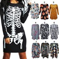 Women s O Neck Mini Dress with Various Characters for Halloween Party
