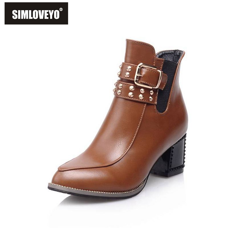 New arrival Autumn winter boots Ladies shoes Ankle boots heels Fashion Sexy Buckle Pointed toe Rivets Zip Punk Sexy Hot sale(China (Mainland))