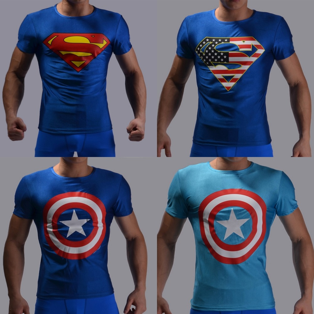 Mens Gym Clothing Sport Fitness t shirt 3D Superman/Captain America Short Sleeve tights T-Shirt Men Crossfit Compression Running(China (Mainland))
