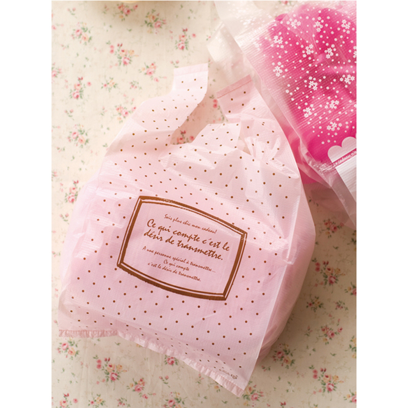 pink letter small dotted vest handles cookie packaging