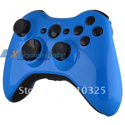 Painted Baby Blue Wireless Controller Shell for Xbox 360 Housing Repair Kits with FULL Black Inserts and Buttons(China (Mainland))