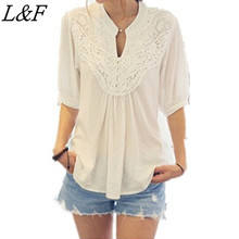 Summer Style 2015 Women's Half Sleeve Shirts Sexy Lace Loose Tops Lace Splicing Chiffon Clothing  Women Casual Blouses Shirt(China (Mainland))