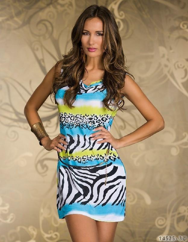 2015 Fashion Sexy pretty Dress Mini Prints Style Retro Blue Zebra Animal Printed Prom Clubwear Dressessexy babydoll dress N124(China (Mainland))