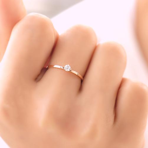 Валентина подарок розового золота титана стали 2 мм прекрасно четыре зубец установка ...