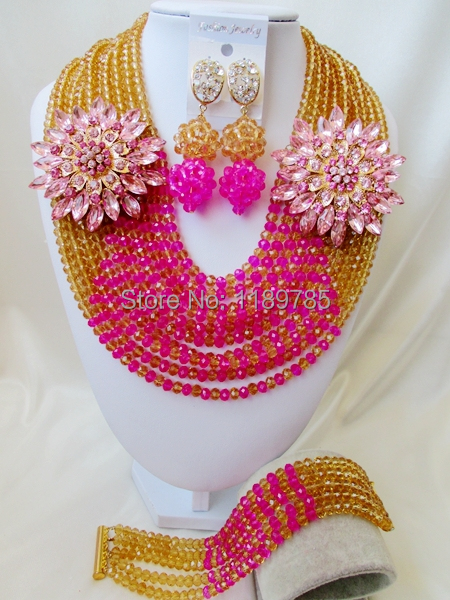 Free Shipping  African Wedding Jewelry Set Costume Nigerian  Crystal Beads Jewelry Set Wholesale A-9198<br><br>Aliexpress