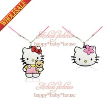 New Cute 2PCS Kawaii Hello Kitty Spongebob PVC Cartoon Character 2D Pendants Necklace for Children Gifts/Toys Travel Accessories(China (Mainland))