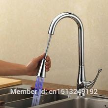 """20 """" LED Pull Out robinet de cuisine un trou / poignée poli Chrome pas cher à prix réduits Unique(China (Mainland))"""