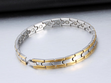 Healthy Magnetic Bracelets & Bangles Stainless Steel Jewelry  For Men Women Wholesale Men's Hand Chain  Gold & Black