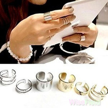 3PCS 1Set Finger Ring Top Over The Midi Tip Finger Above The Knuckle Open Gold Silver