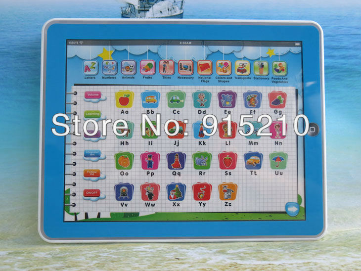 Free Shipping to U.S. ONLY,Toy Pad 11-IN-1 English Learning Tablet ,Y Pad laptop baby toys with Light,2 Colours Mixed,2PCS/Lot(China (Mainland))