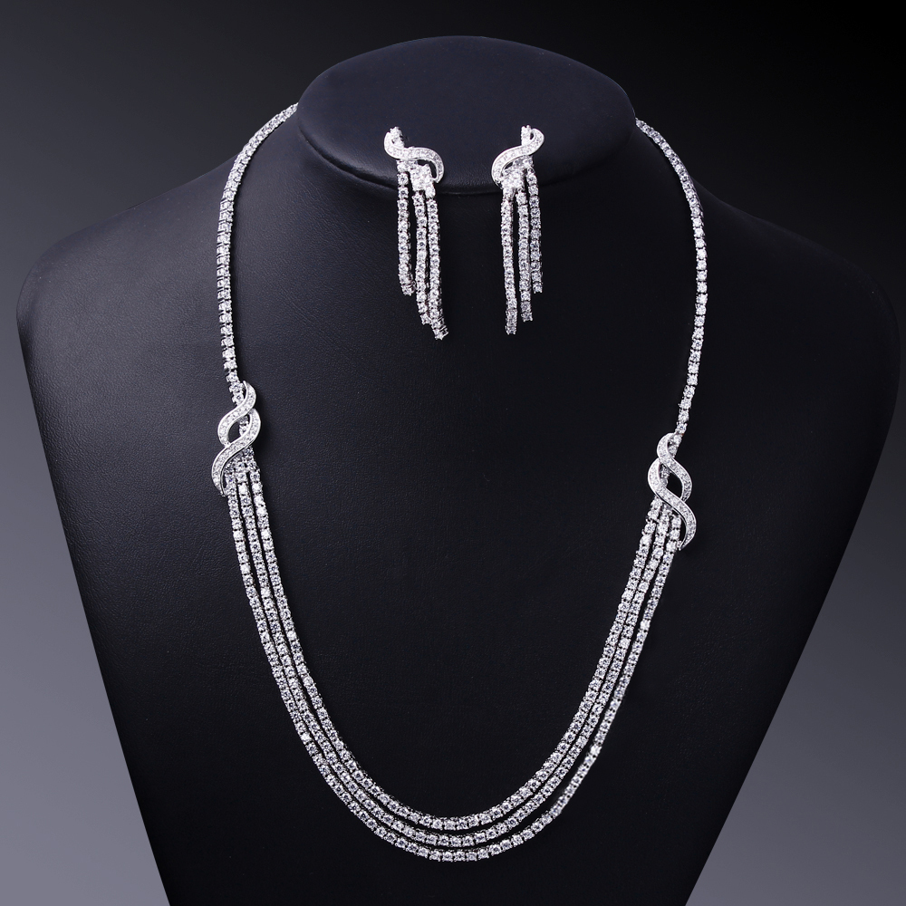 Classic necklace and earring sets aaa cubic zirconia for Drop shipping jewelry business