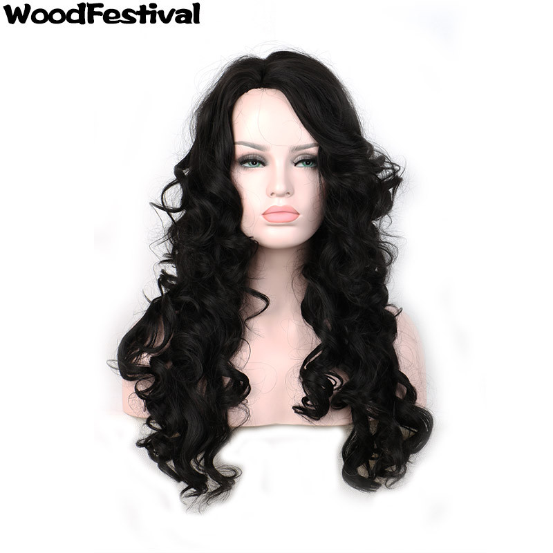 WoodFestival woman black wig long hair wigs for african americans wavy wig synthetic wigs for black women heat resistant(China (Mainland))