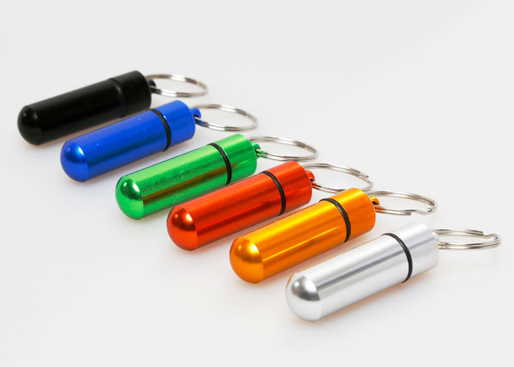Useful Out Door WaterProof Portable Aluminum Small Pill Box Case Key Ring Design Splitters(China (Mainland))