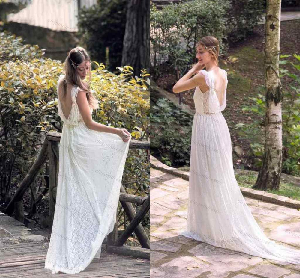 Simple v neck backless lace bohemian wedding dress country for Backless boho wedding dress