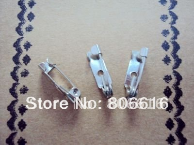 15MM 200Pcs Nickel Color Brooch Pin Backs Safety Pins Connectors Metal Jewelery Finding Accessory(China (Mainland))