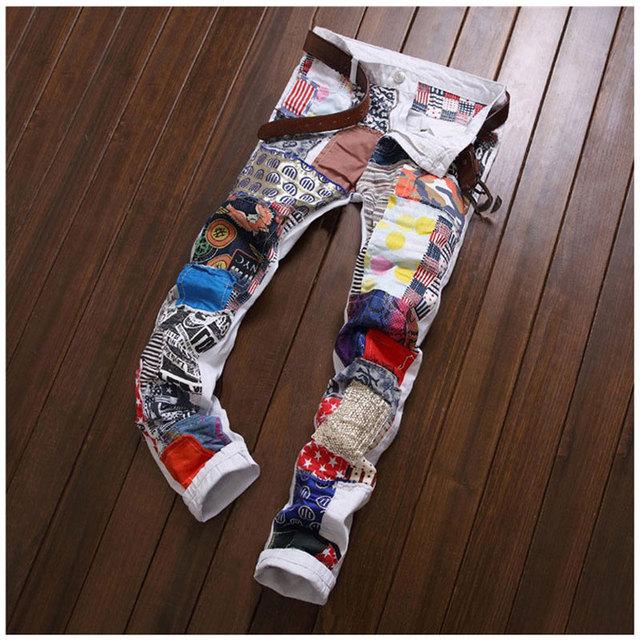 Личность мужчины лоскутное джинсы новинка ночной клуб цвет брюки тонкий ковбой известный ...