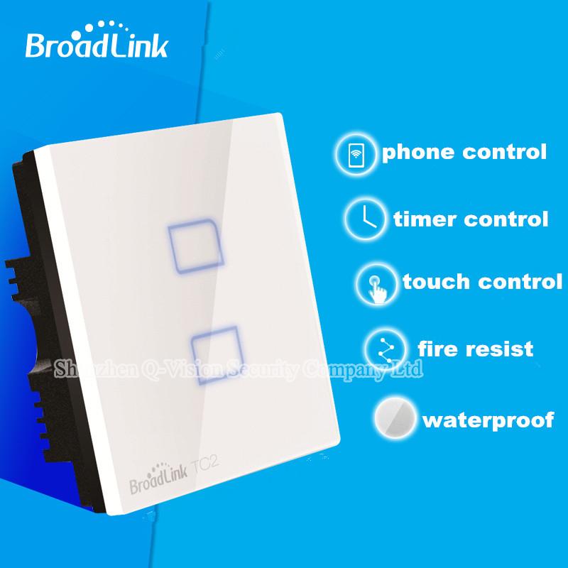 UK Standard Broadlink TC2  2Gang Wireless Wall Touch Light Switch RF433 Remote Control Wifi Phone Control Lamp Smart Home<br><br>Aliexpress