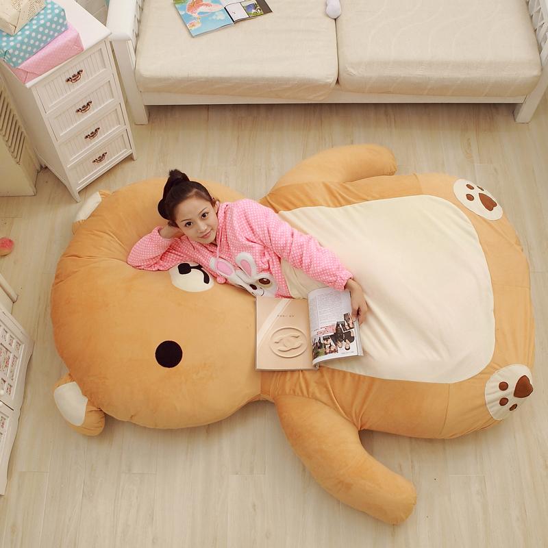 Japan Cartoon Anime Rilakkuma Carpet Mattress Jumbo Plush Soft Bear Beanbag Tatami Sofa Bed(China (Mainland))