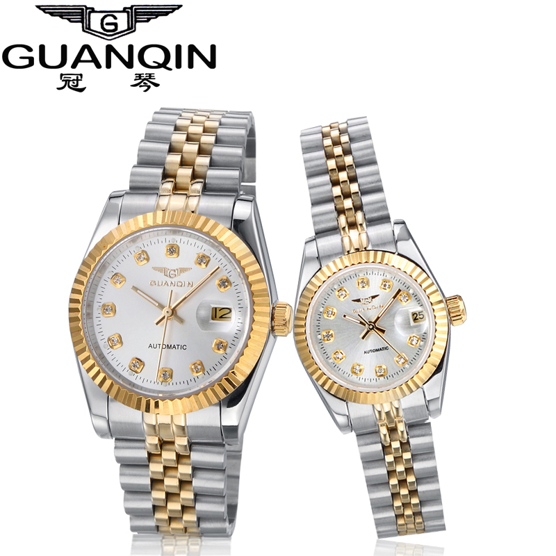 GUANQIN Mechanical 316L Stainless Steel Waterproof Couple Lover Watches Man Women Pair Watch <br><br>Aliexpress