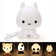Novelty PVC Plastic Baby Bedroom Night Light Cartoon Animal Rabbit Sleep Led Table 3D Lamp Bulb Nightlight for Children(China (Mainland))