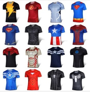 Free shipping the avengers shirts men T shirt batman and iron man spider man and captain