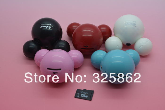 10pcs/lot New Design Mini Mickey Mouse mp3 Music Player Support 1 2 4 8 GB TF Card , Best Gift for Girlfriend or Kids!(China (Mainland))