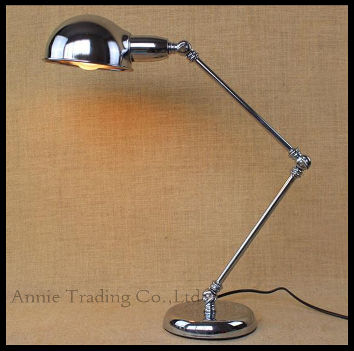 AC100-240V American rural industrial plate chrome silver bed living room restaurant bedroom decorating Desk table lamp abaju(China (Mainland))