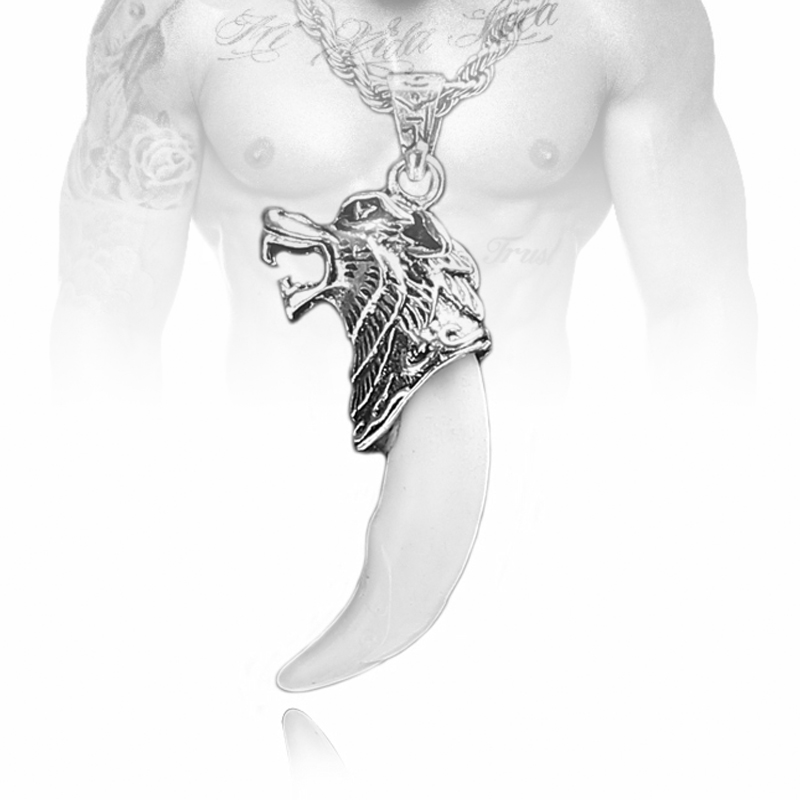 2016 New Arrival Cool Jewelry Wolf's Fang Tooth Pendant Stainless Steel Necklace For Man Chain,55cm-75cm(China (Mainland))
