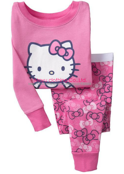 2pcs Hello Kitty Cat Cartoon Print Baby Girls Kids Children Infant Tshirt Top Pants Long Sleeve Pajamas Sleepwear Set Suit 1-7Y(China (Mainland))
