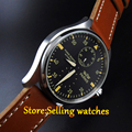 Parnis 47mm Power Reserve stainless steel Case Leather Analog Automatic mechanical Mens Watch