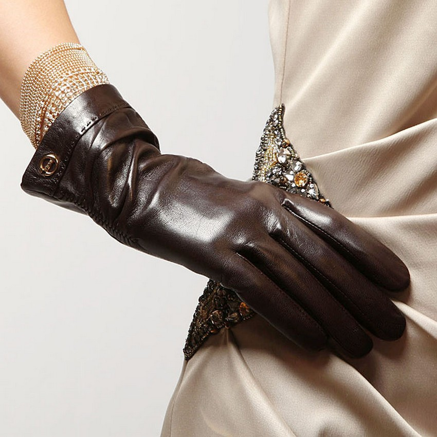 2016 Fashion Winter Lambskin Women Solid Real Genuine Leather Sheepskin Gloves Wrist Driving Glove Time-limited Rushed El035nn(China (Mainland))