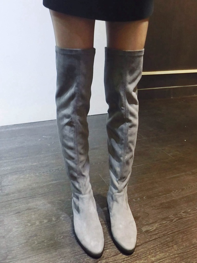 Fashion Brand Knee Suede Womens Boots Genuine Leather Platform Over Knee Thigh Spring/Autumn/winter High Heel&Flat Boots