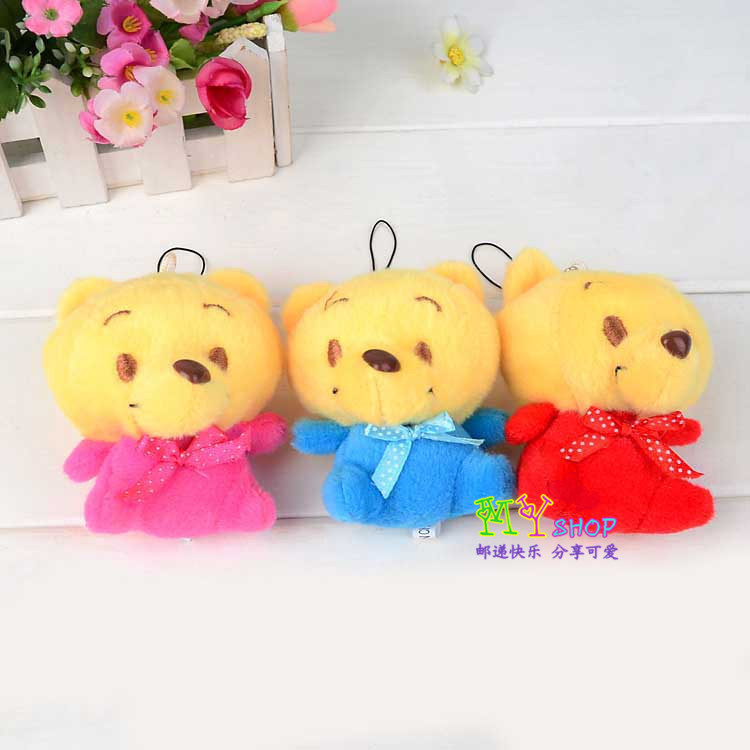 Free ship 2014 news arrival Cute cartoon bear plush bags small pendant gifts Mobile phone chain/seat stuffed keychain 30pcs/lot(China (Mainland))