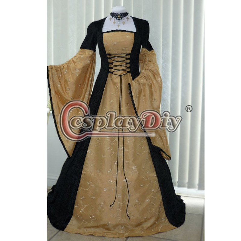 Medieval Dress Black And Gold Dress Renaissance Period Cosplay Costume For Adult Women Halloween Custom Made D0826Одежда и ак�е��уары<br><br><br>Aliexpress