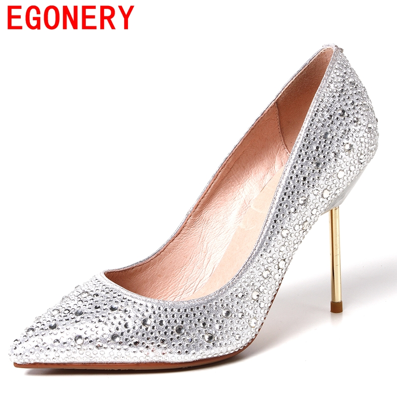 thin high heels pumps beautiful new fashion pointed toe shoes Rhinestone charm dress mature dance party office lady shoes<br><br>Aliexpress