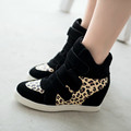 HOT New 2016 Brand Autumn Women Winter Shoes Leopard Suede Ankle Boots Heels Platform Wedge 9