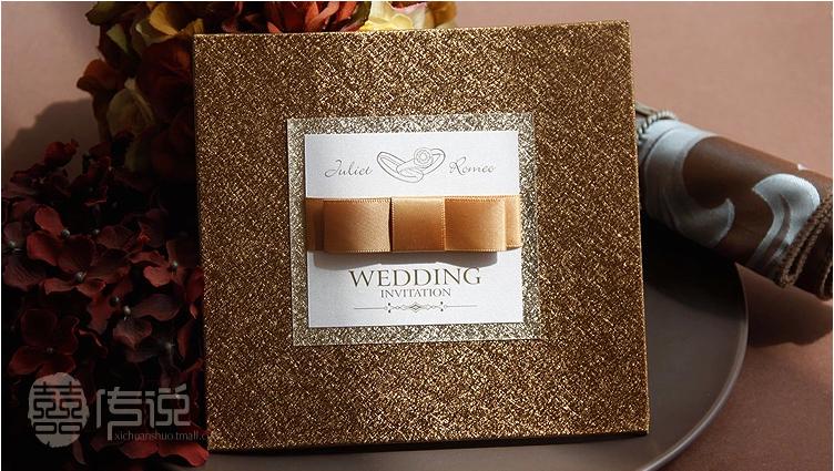 BOF Custom Wedding Birthday Business Party Invitation Card Gold Ribbon wedding invitations cards SAMPLE(China (Mainland))