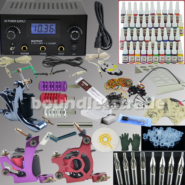 OPHIR Professional Tattoo Kit 3 Machines Guns 40 Colors Inks Pigment Tatto Supply Power Needle 380pcs Complete Tattoo Kit _TA005(China (Mainland))