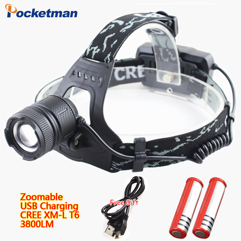 3800LM USB Rechargeable Headlamp, Zoomable CREE XM-L T6 Flashlight 3 Models Waterproof Torch for 18650 battery Riding lights 67(China (Mainland))