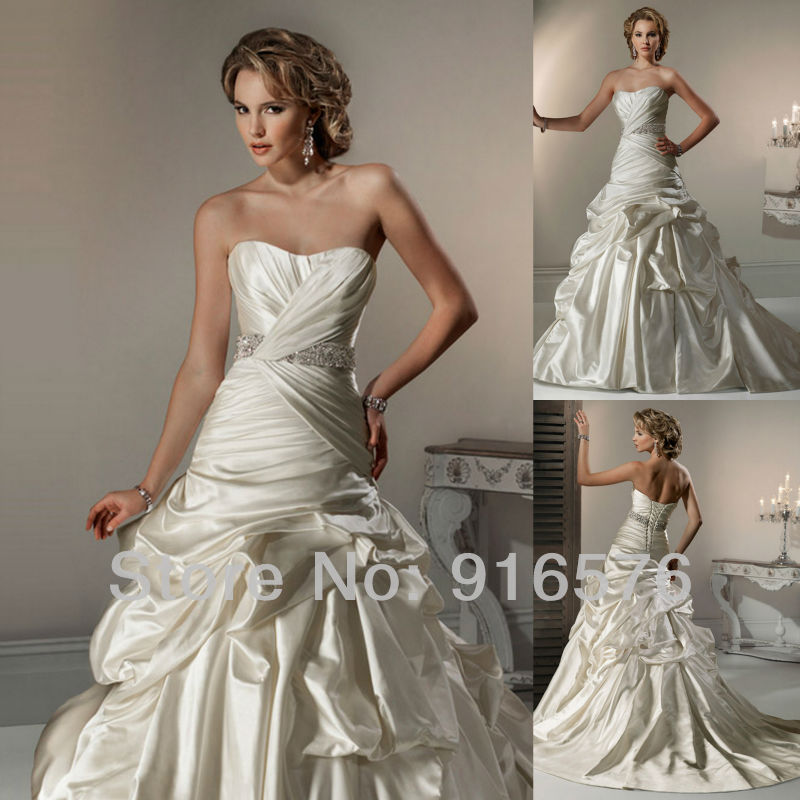 Ball Gown Ruffle Crystal Band Corset Closure Court Train Sweetheart Wedding Dresses Bridal Gowns