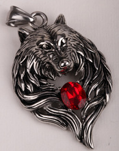 Wolf stainless steel necklace for men women 316L pendant W chain biker heavy jewelry animal charm