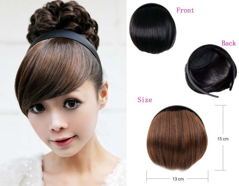 Synthetic Girls Clip Front Neat Bang Fringe Hair Extensions hair bang headband Dark brown black light available - Funky House store